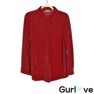 Soft Surroundings PM Velvet Button Blouse Top